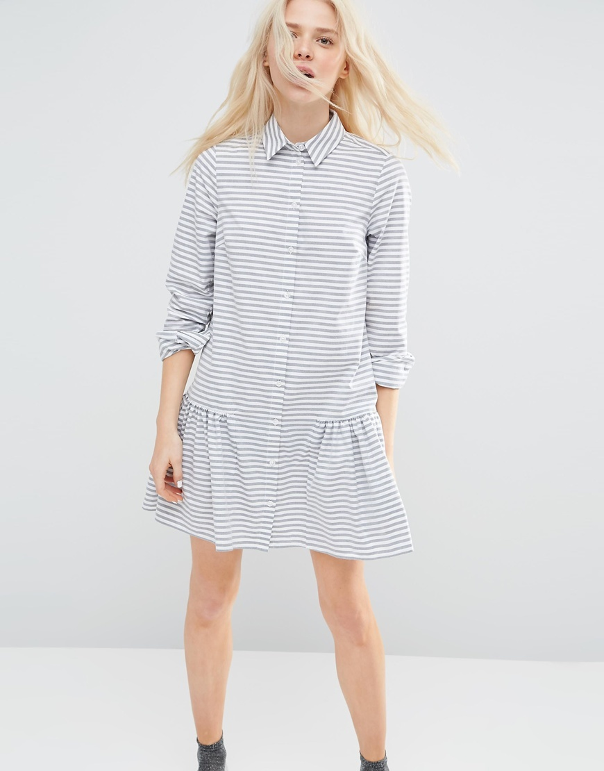 Shirt Dress With Frill Hem In Stripe Multi - style: shift; neckline: shirt collar/peter pan/zip with opening; pattern: horizontal stripes; waist detail: drop waist; secondary colour: white; predominant colour: pale blue; occasions: casual, creative work; length: just above the knee; fit: body skimming; fibres: cotton - mix; sleeve length: long sleeve; sleeve style: standard; texture group: cotton feel fabrics; pattern type: fabric; pattern size: standard; season: s/s 2016; wardrobe: highlight