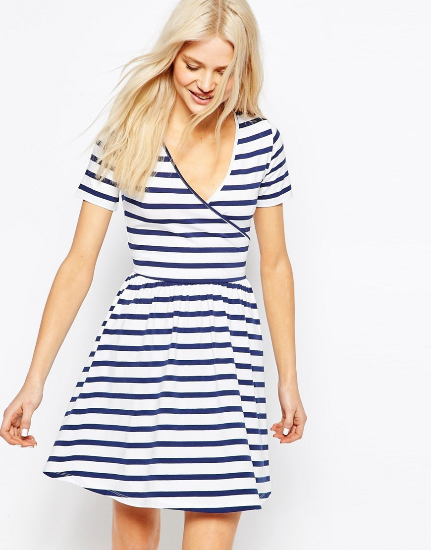 Skater Mini Dress With Ballet Wrap In Stripe Stripe - style: faux wrap/wrap; neckline: low v-neck; pattern: horizontal stripes; secondary colour: white; predominant colour: navy; occasions: casual; length: just above the knee; fit: fitted at waist & bust; fibres: viscose/rayon - stretch; sleeve length: short sleeve; sleeve style: standard; pattern type: fabric; pattern size: standard; texture group: jersey - stretchy/drapey; season: s/s 2016; wardrobe: basic