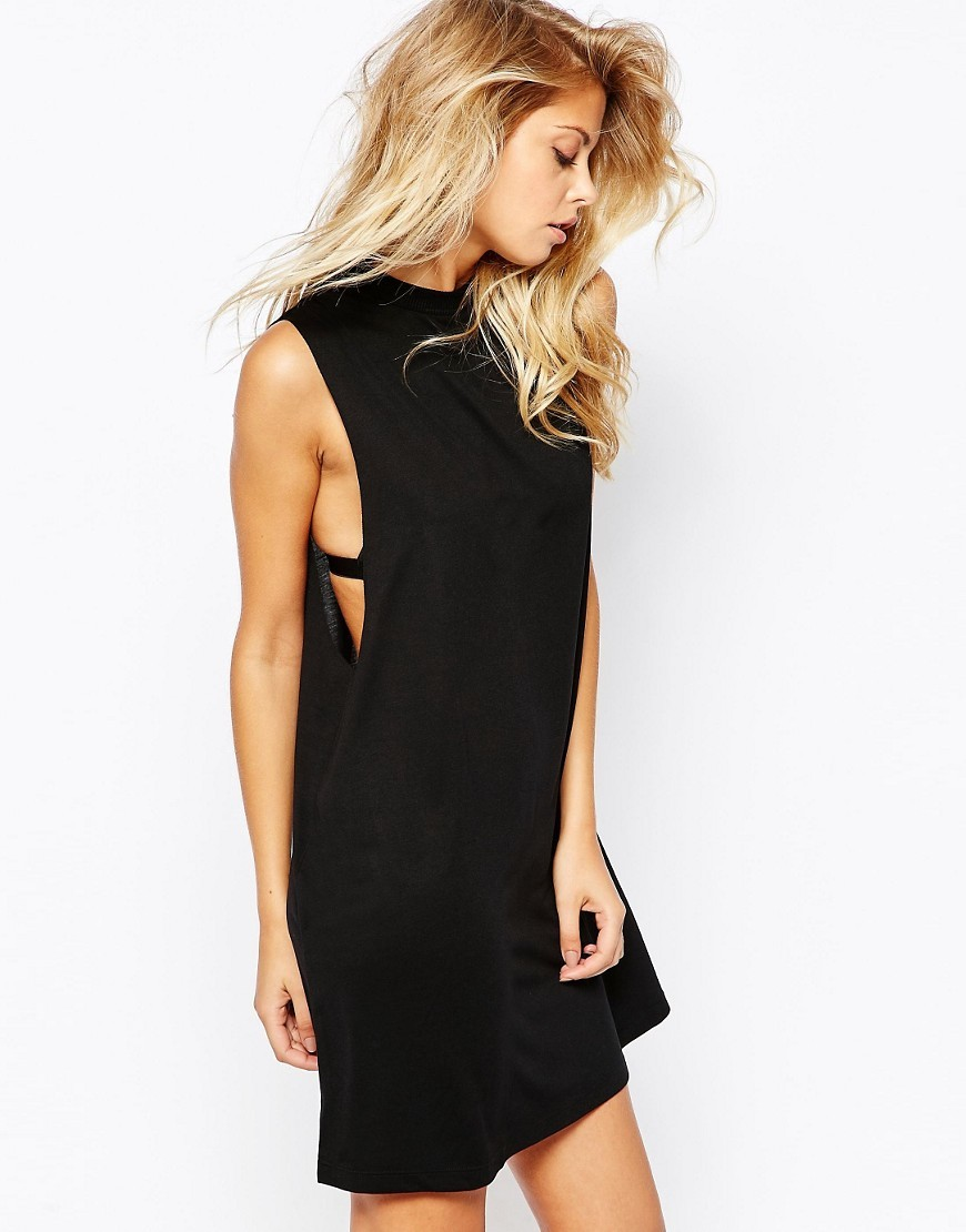 T Shirt Dress With Drop Armhole Black - style: t-shirt; length: mid thigh; pattern: plain; sleeve style: sleeveless; predominant colour: black; occasions: casual; fit: body skimming; fibres: viscose/rayon - stretch; neckline: crew; sleeve length: sleeveless; pattern type: fabric; texture group: jersey - stretchy/drapey; season: s/s 2016; wardrobe: basic