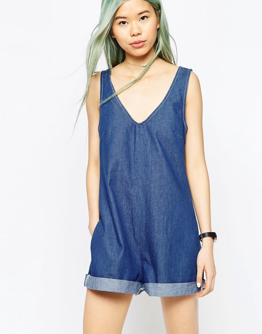 Denim Romper Playsuit Midwash Blue - neckline: v-neck; pattern: plain; sleeve style: sleeveless; length: short shorts; predominant colour: denim; occasions: casual; fit: body skimming; fibres: cotton - 100%; sleeve length: sleeveless; texture group: denim; style: playsuit; pattern type: fabric; season: s/s 2016; wardrobe: highlight