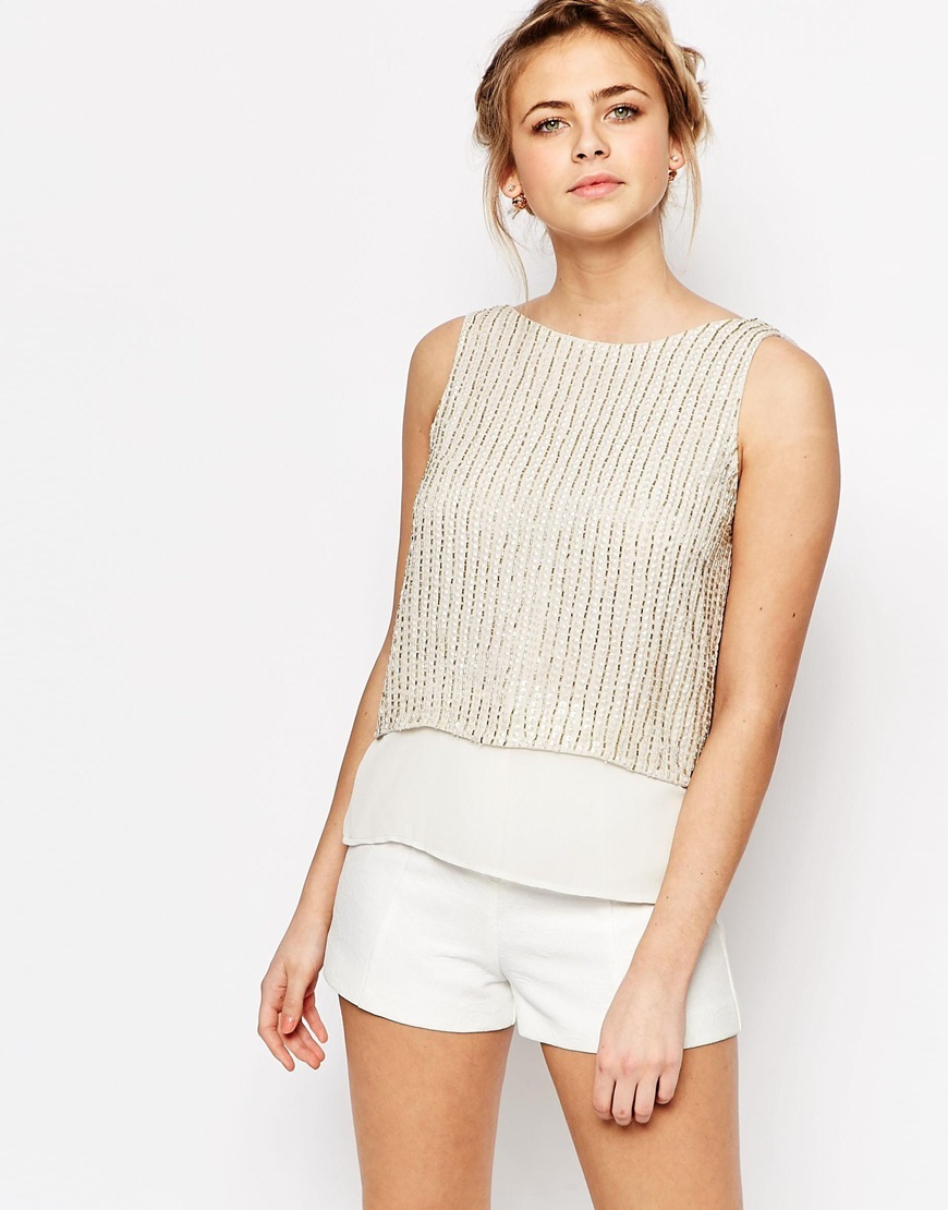 Comet Top In Sequin Beige - neckline: slash/boat neckline; pattern: plain; sleeve style: sleeveless; back detail: low cut/open back; secondary colour: ivory/cream; predominant colour: bronze; occasions: casual; length: standard; style: top; fibres: polyester/polyamide - 100%; fit: body skimming; sleeve length: sleeveless; pattern type: fabric; texture group: other - light to midweight; embellishment: beading; season: s/s 2016