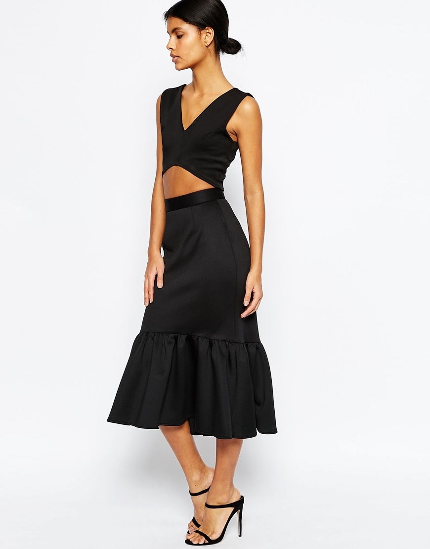 Scuba Midi Skirt With Tiered Hem Black - length: below the knee; pattern: plain; fit: loose/voluminous; style: tiered; waist: high rise; predominant colour: black; occasions: evening, occasion; fibres: polyester/polyamide - stretch; hip detail: adds bulk at the hips; pattern type: fabric; texture group: other - light to midweight; season: s/s 2016; wardrobe: event