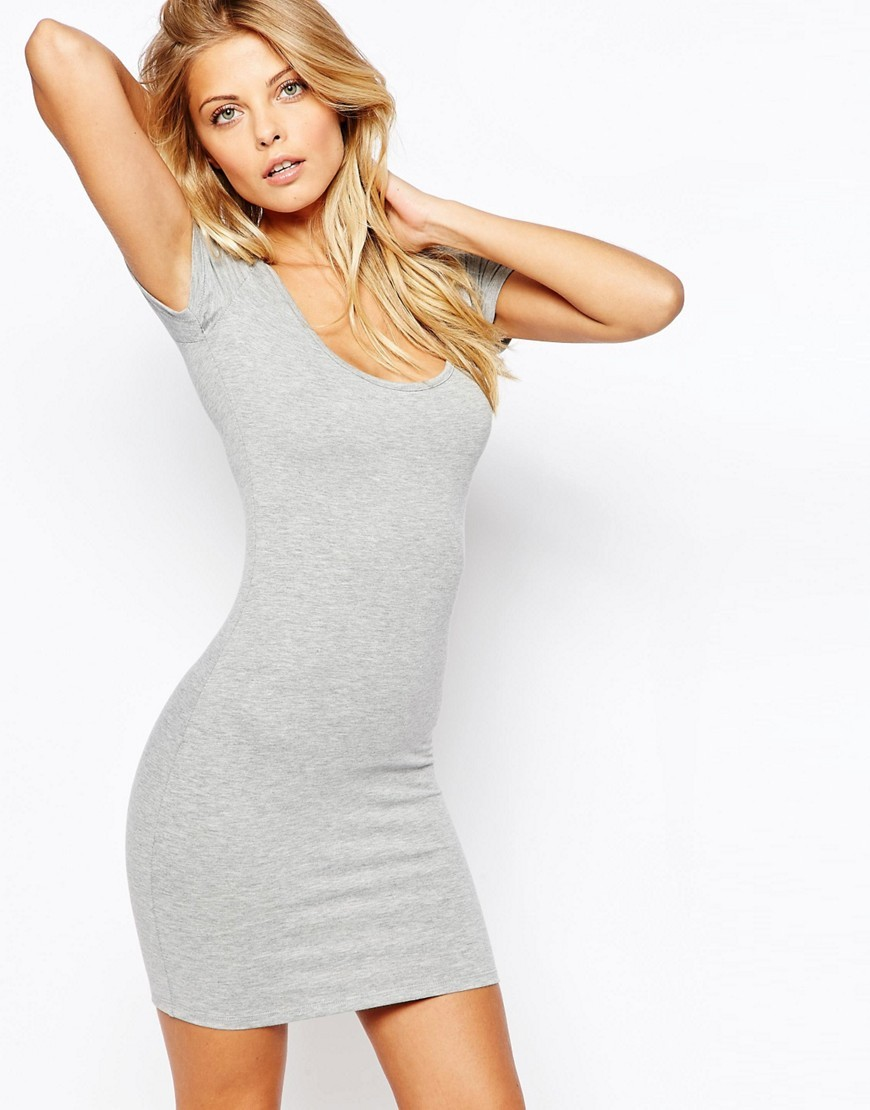 Scoop Front And Back Bodycon Mini Dress Grey Marl - length: mini; fit: tight; pattern: plain; style: bodycon; predominant colour: light grey; occasions: casual; neckline: scoop; fibres: polyester/polyamide - stretch; sleeve length: short sleeve; sleeve style: standard; texture group: jersey - clingy; pattern type: fabric; season: s/s 2016; wardrobe: basic