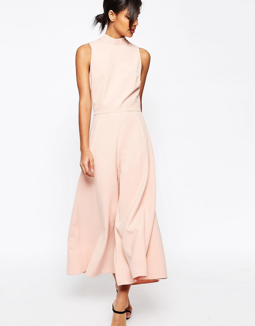 Jumpsuit With Culotte Leg And High Neck Nude - length: standard; pattern: plain; sleeve style: sleeveless; neckline: high neck; predominant colour: blush; occasions: evening; fit: fitted at waist & bust; fibres: polyester/polyamide - stretch; sleeve length: sleeveless; texture group: crepes; style: jumpsuit; pattern type: fabric; season: s/s 2016; wardrobe: event