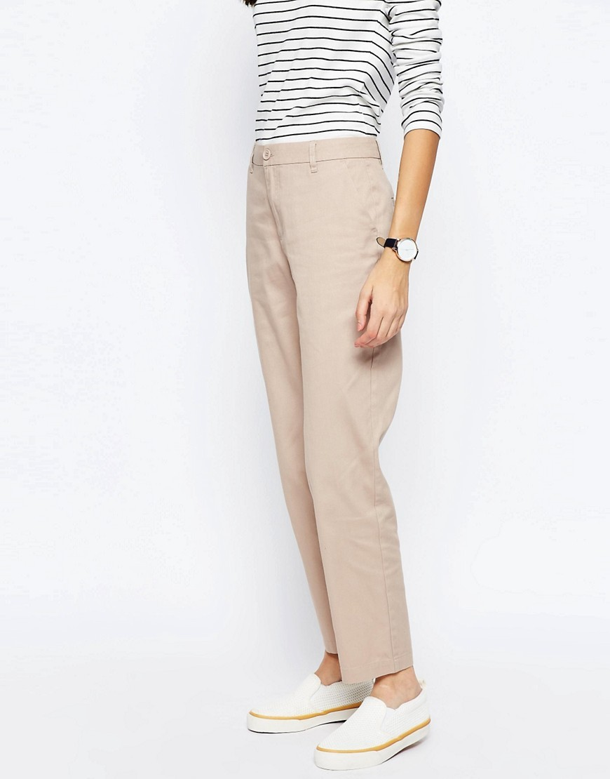 Chino Trousers Oatmeal - pattern: plain; waist: mid/regular rise; predominant colour: stone; occasions: casual, holiday; length: ankle length; style: chino; fibres: cotton - mix; waist detail: feature waist detail; texture group: cotton feel fabrics; fit: slim leg; pattern type: fabric; season: s/s 2016; wardrobe: basic