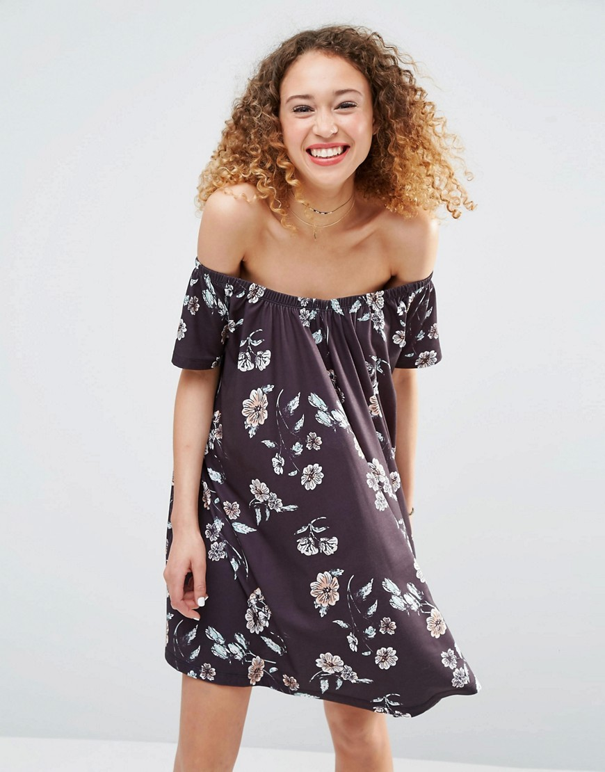 Off Shoulder Sundress In Floral Print Multi - neckline: off the shoulder; fit: loose; style: sundress; secondary colour: white; predominant colour: charcoal; occasions: casual; length: just above the knee; fibres: polyester/polyamide - stretch; sleeve length: short sleeve; sleeve style: standard; pattern type: fabric; pattern: florals; texture group: jersey - stretchy/drapey; multicoloured: multicoloured; season: s/s 2016; wardrobe: highlight