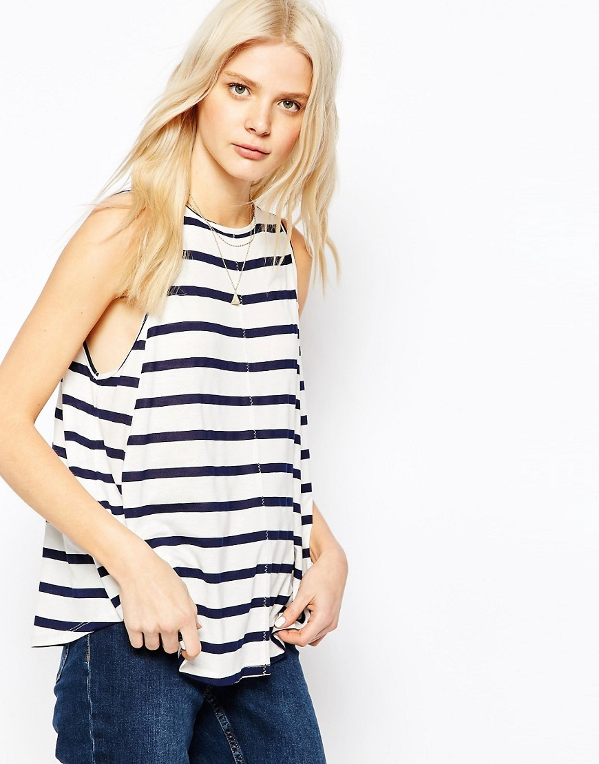 Swing Vest In Stripe Navy/White - neckline: round neck; pattern: horizontal stripes; sleeve style: sleeveless; style: vest top; secondary colour: white; predominant colour: navy; occasions: casual; length: standard; fibres: polyester/polyamide - mix; fit: loose; sleeve length: sleeveless; pattern type: fabric; texture group: jersey - stretchy/drapey; pattern size: big & busy (top); season: s/s 2016; wardrobe: basic