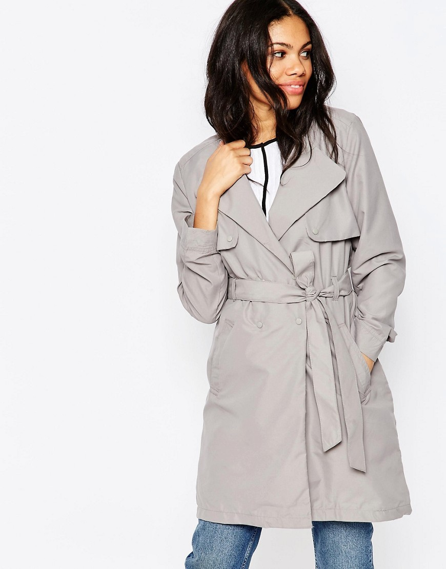 Longline Belted Mac Soft Grey - pattern: plain; style: mac; collar: standard lapel/rever collar; length: mid thigh; predominant colour: mid grey; occasions: casual, creative work; fit: tailored/fitted; fibres: cotton - mix; waist detail: belted waist/tie at waist/drawstring; back detail: back vent/flap at back; sleeve length: long sleeve; sleeve style: standard; texture group: cotton feel fabrics; collar break: medium; pattern type: fabric; season: s/s 2016; wardrobe: basic