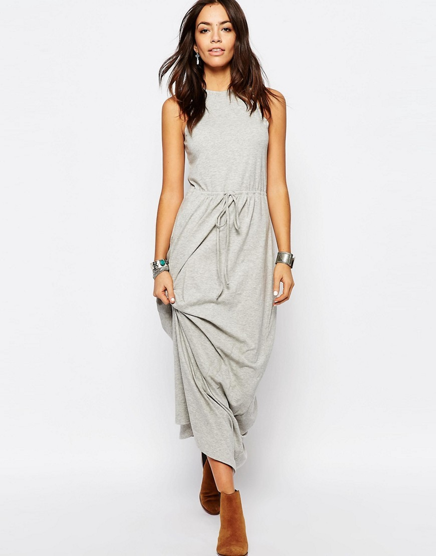 Tie Waist Jersey Maxi Dress Grey - fit: loose; pattern: plain; sleeve style: sleeveless; style: maxi dress; length: ankle length; waist detail: belted waist/tie at waist/drawstring; predominant colour: light grey; occasions: casual; fibres: cotton - stretch; neckline: crew; sleeve length: sleeveless; pattern type: fabric; texture group: jersey - stretchy/drapey; season: s/s 2016; wardrobe: basic
