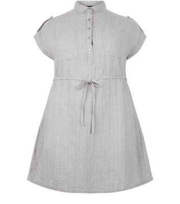 Curves Grey Linen Mix Belted Shirt Dress - style: shirt; length: mid thigh; neckline: shirt collar/peter pan/zip with opening; sleeve style: capped; shoulder detail: obvious epaulette; pattern: pinstripe; waist detail: belted waist/tie at waist/drawstring; bust detail: buttons at bust (in middle at breastbone)/zip detail at bust; secondary colour: white; predominant colour: light grey; occasions: casual; fit: fitted at waist & bust; fibres: cotton - mix; sleeve length: short sleeve; texture group: cotton feel fabrics; pattern type: fabric; pattern size: light/subtle; season: s/s 2016