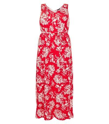 Curves Red Floral Print Maxi Dress - neckline: low v-neck; sleeve style: sleeveless; style: maxi dress; length: ankle length; waist detail: belted waist/tie at waist/drawstring; secondary colour: white; predominant colour: true red; occasions: casual; fit: body skimming; fibres: polyester/polyamide - 100%; hip detail: soft pleats at hip/draping at hip/flared at hip; sleeve length: sleeveless; pattern type: fabric; pattern: patterned/print; texture group: woven light midweight; season: s/s 2016