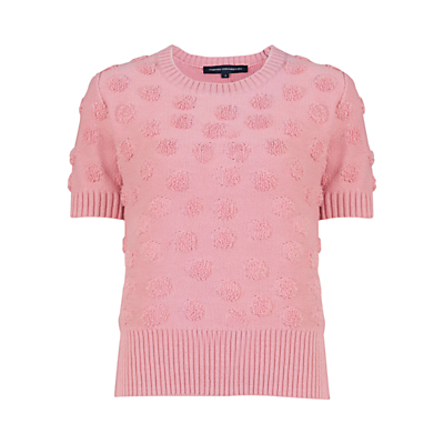 Fast Loopy Polka Jumper - pattern: plain; style: standard; predominant colour: pink; occasions: casual, creative work; length: standard; fibres: cotton - mix; fit: standard fit; neckline: crew; sleeve length: short sleeve; sleeve style: standard; texture group: knits/crochet; pattern type: knitted - other; season: s/s 2016; wardrobe: highlight