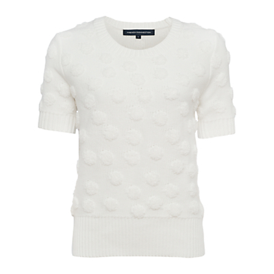 Fast Loopy Polka Jumper - pattern: plain; style: standard; predominant colour: white; occasions: casual, creative work; length: standard; fibres: cotton - mix; fit: standard fit; neckline: crew; sleeve length: short sleeve; sleeve style: standard; texture group: knits/crochet; pattern type: knitted - other; season: s/s 2016; wardrobe: basic