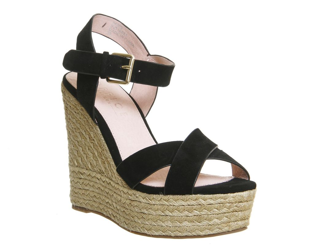 Ahoy Cross Strap Espadrille Wedge, Black Suede - predominant colour: black; occasions: casual, holiday; material: suede; heel height: high; ankle detail: ankle strap; heel: wedge; toe: open toe/peeptoe; style: strappy; finish: plain; pattern: plain; shoe detail: platform; season: s/s 2016; wardrobe: investment