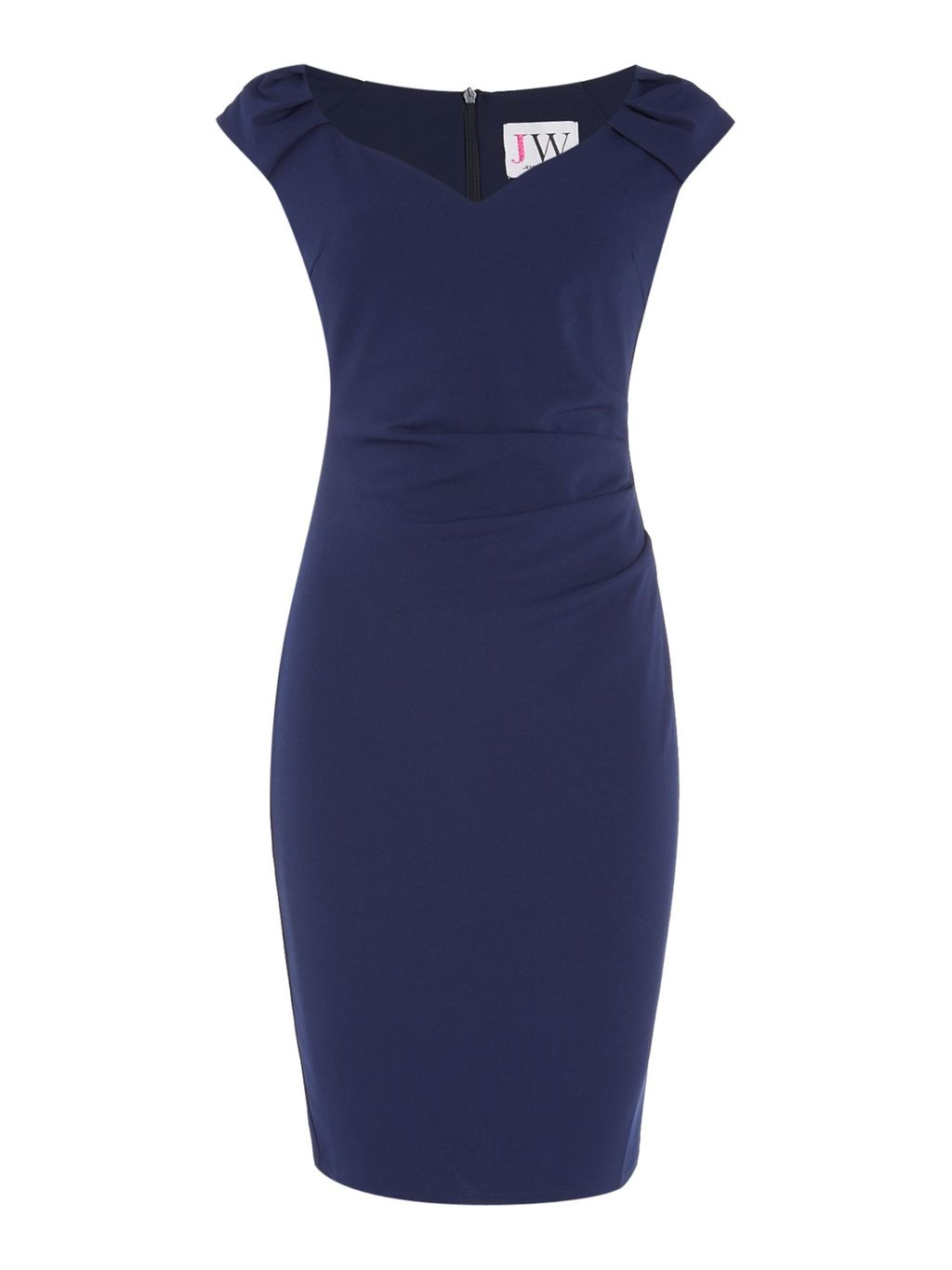 Off Shoulder Gathered Waist Bodycon Dress, Navy - style: shift; sleeve style: capped; fit: tight; pattern: plain; neckline: sweetheart; predominant colour: navy; length: on the knee; fibres: polyester/polyamide - stretch; occasions: occasion; sleeve length: short sleeve; pattern type: fabric; texture group: jersey - stretchy/drapey; season: s/s 2016; wardrobe: event