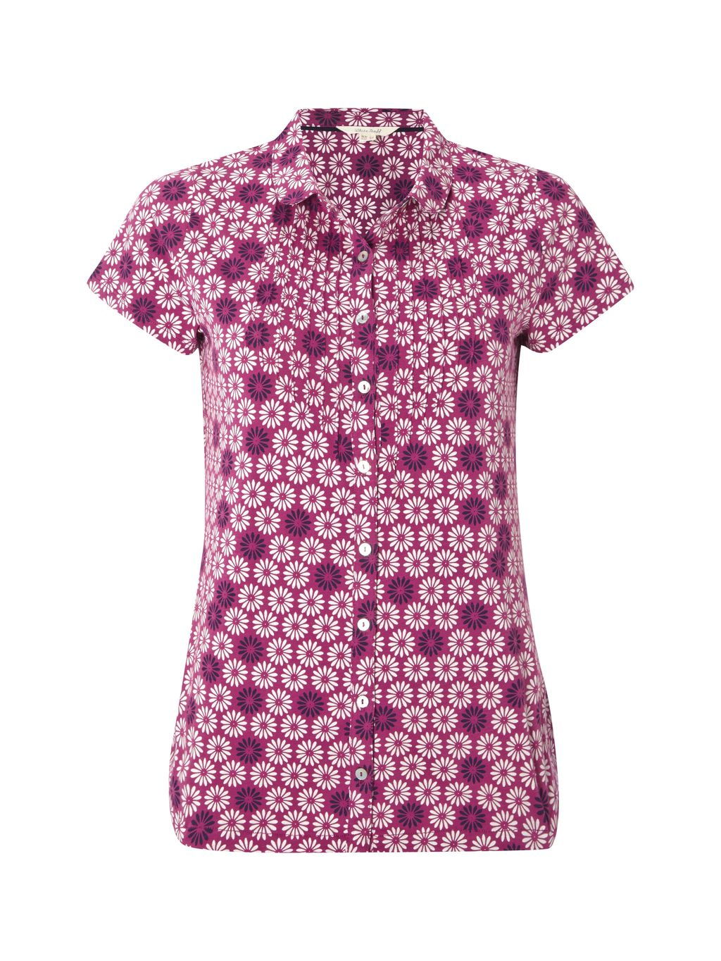 Daisy Jersey Shirt, Purple - neckline: shirt collar/peter pan/zip with opening; style: shirt; secondary colour: blush; predominant colour: hot pink; occasions: casual; length: standard; fibres: cotton - 100%; fit: body skimming; sleeve length: short sleeve; sleeve style: standard; texture group: cotton feel fabrics; pattern type: fabric; pattern: florals; multicoloured: multicoloured; season: s/s 2016; wardrobe: highlight