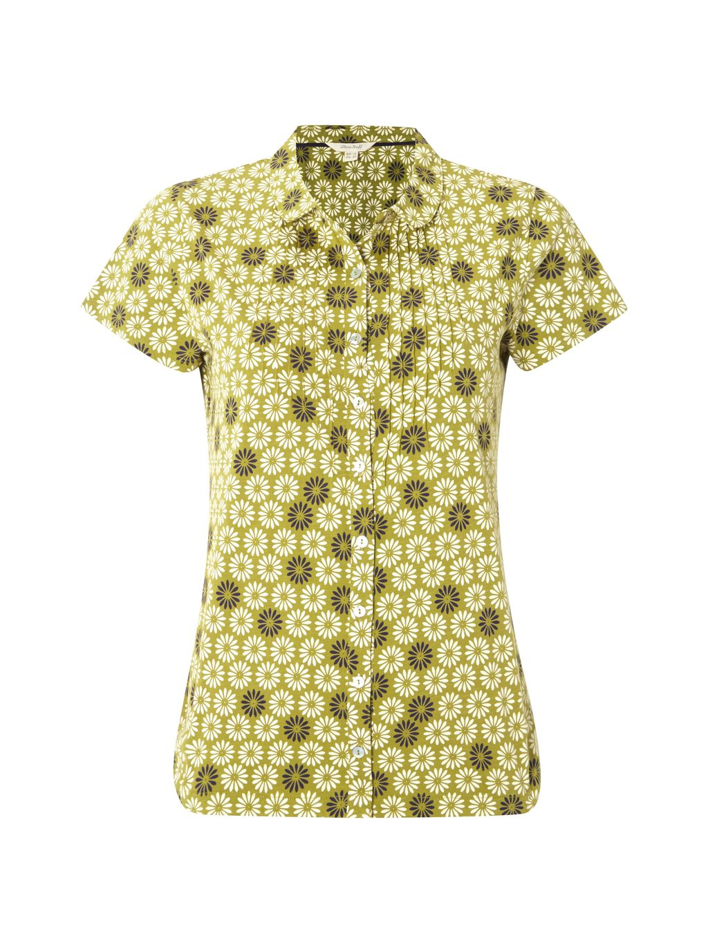 Daisy Jersey Shirt, Green - neckline: shirt collar/peter pan/zip with opening; style: shirt; secondary colour: primrose yellow; predominant colour: khaki; occasions: casual; length: standard; fibres: cotton - 100%; fit: body skimming; sleeve length: short sleeve; sleeve style: standard; texture group: cotton feel fabrics; pattern type: fabric; pattern: florals; multicoloured: multicoloured; season: s/s 2016