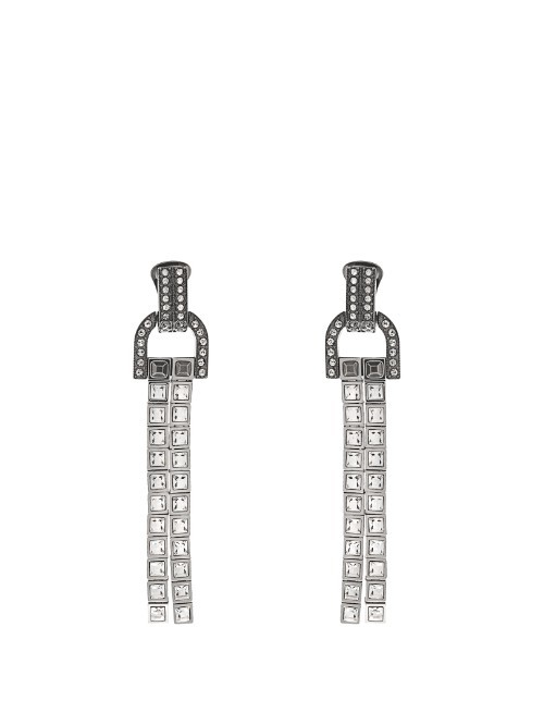 Debbie Crystal Embellished Drop Earrings - predominant colour: silver; occasions: occasion; style: drop; length: long; size: large/oversized; material: chain/metal; fastening: pierced; finish: metallic; embellishment: crystals/glass; secondary colour: clear; season: s/s 2016; wardrobe: event