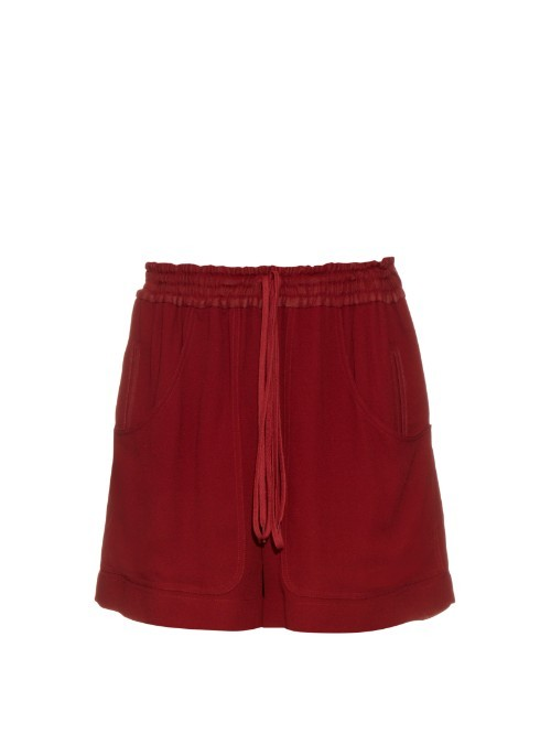 Wide Leg Crepe Track Shorts - pattern: plain; waist: high rise; waist detail: belted waist/tie at waist/drawstring; predominant colour: burgundy; occasions: casual; fibres: viscose/rayon - 100%; pattern type: fabric; texture group: other - light to midweight; season: s/s 2016; style: shorts; length: mid thigh shorts; fit: baggy