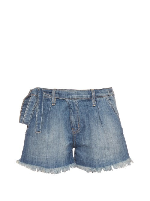 The Pleated Tie Waist Denim Shorts - pattern: plain; waist detail: belted waist/tie at waist/drawstring; waist: mid/regular rise; predominant colour: denim; occasions: casual; fibres: cotton - stretch; texture group: denim; pattern type: fabric; season: s/s 2016; style: denim; length: short shorts; fit: standard; wardrobe: highlight