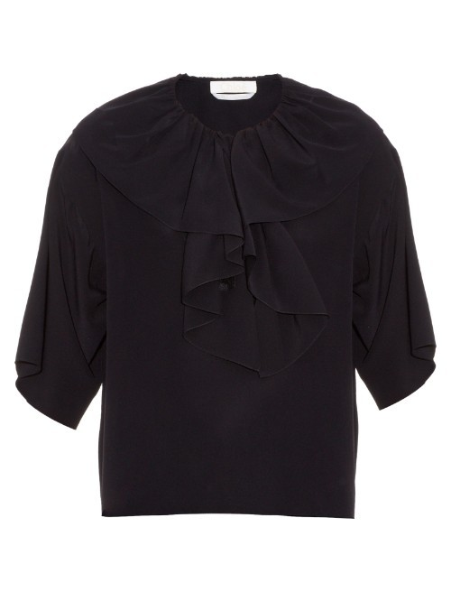 Ruffle Trimmed Crepe De Chine Top - pattern: plain; hip detail: draws attention to hips; predominant colour: navy; occasions: casual; length: standard; style: top; fibres: silk - 100%; fit: body skimming; neckline: crew; sleeve length: half sleeve; sleeve style: standard; texture group: crepes; pattern type: fabric; season: s/s 2016; wardrobe: basic