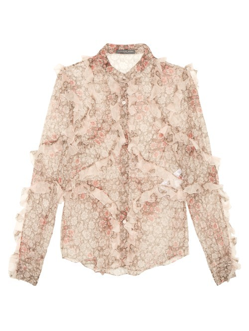 Floral Print Ruffled Silk Blouse - neckline: shirt collar/peter pan/zip with opening; style: shirt; predominant colour: blush; secondary colour: nude; occasions: evening; length: standard; fibres: silk - 100%; fit: body skimming; sleeve length: long sleeve; sleeve style: standard; texture group: sheer fabrics/chiffon/organza etc.; pattern type: fabric; pattern size: light/subtle; pattern: patterned/print; season: s/s 2016; trends: spanish influences; wardrobe: event
