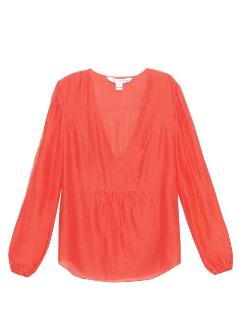 Maslyn Blouse - neckline: low v-neck; pattern: plain; sleeve style: balloon; style: blouse; predominant colour: coral; occasions: casual; length: standard; fibres: cotton - mix; fit: straight cut; sleeve length: long sleeve; texture group: cotton feel fabrics; pattern type: fabric; season: s/s 2016