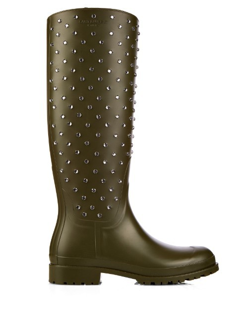Festival Studded Rubber Boots - predominant colour: khaki; occasions: casual; material: plastic/rubber; heel height: flat; embellishment: crystals/glass; heel: standard; toe: round toe; boot length: mid calf; style: wellies; finish: plain; pattern: plain; season: s/s 2016; wardrobe: highlight