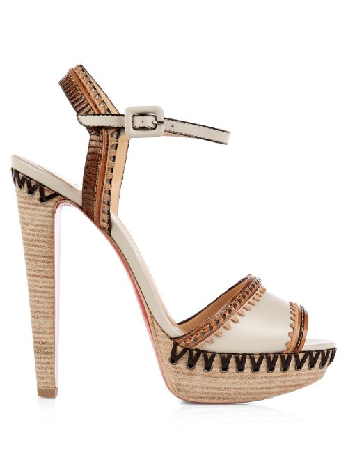 Trepi Platform Sandals - predominant colour: ivory/cream; secondary colour: stone; occasions: occasion; material: leather; ankle detail: ankle strap; heel: stiletto; toe: open toe/peeptoe; style: standard; finish: plain; pattern: patterned/print; heel height: very high; shoe detail: platform; season: s/s 2016; wardrobe: event