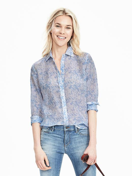 Dillon Fit Print Shirt Allports Blue - neckline: shirt collar/peter pan/zip with opening; style: shirt; secondary colour: diva blue; predominant colour: pale blue; occasions: casual, creative work; length: standard; fibres: polyester/polyamide - 100%; fit: straight cut; sleeve length: 3/4 length; sleeve style: standard; texture group: sheer fabrics/chiffon/organza etc.; pattern type: fabric; pattern: patterned/print; season: s/s 2016; wardrobe: highlight
