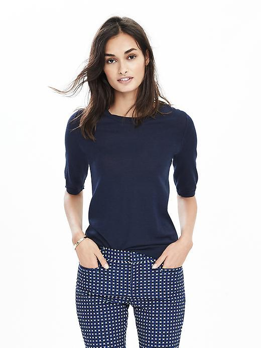 Elbow Sleeve Merino Wool Crew Navy - pattern: plain; style: standard; predominant colour: navy; occasions: casual; length: standard; fibres: wool - 100%; fit: slim fit; neckline: crew; sleeve length: half sleeve; sleeve style: standard; texture group: knits/crochet; pattern type: fabric; season: s/s 2016