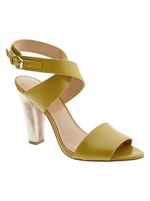 Samanda Heeled Sandal Green Chartreuse - predominant colour: khaki; occasions: evening; material: leather; heel height: high; ankle detail: ankle strap; heel: standard; toe: open toe/peeptoe; style: standard; finish: plain; pattern: plain; season: s/s 2016; wardrobe: event