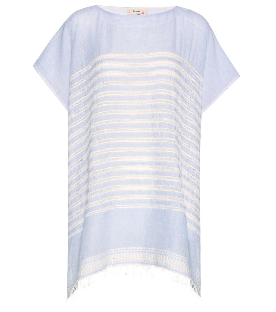 Almaz Cotton Cape - pattern: horizontal stripes; length: below the bottom; secondary colour: white; predominant colour: pale blue; occasions: casual; style: top; fibres: cotton - 100%; fit: loose; neckline: crew; sleeve length: short sleeve; sleeve style: standard; texture group: cotton feel fabrics; pattern type: fabric; multicoloured: multicoloured; season: s/s 2016; wardrobe: highlight