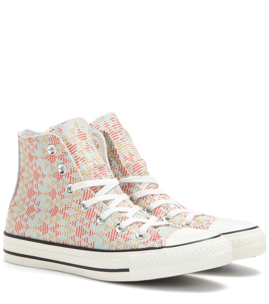 Chuck Taylor All Star Woven Sneakers - predominant colour: white; secondary colour: true red; occasions: casual; material: fabric; heel height: flat; toe: round toe; style: trainers; finish: plain; pattern: patterned/print; multicoloured: multicoloured; season: s/s 2016; wardrobe: highlight