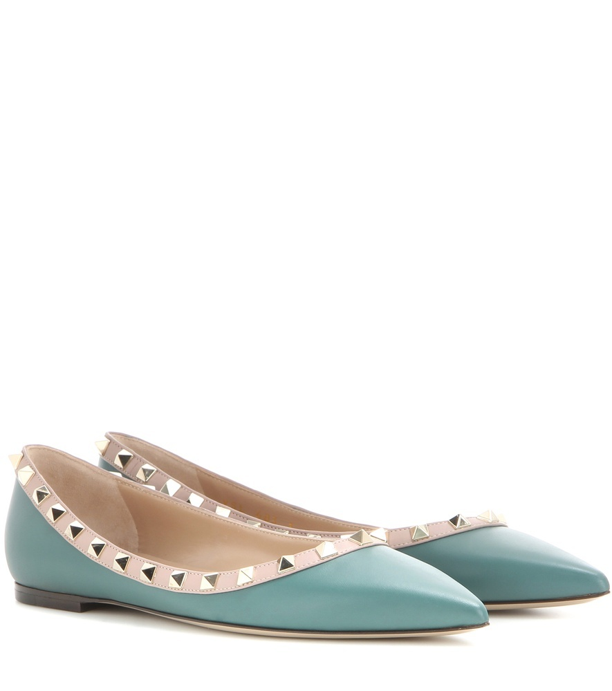 Rockstud Leather Ballerinas - predominant colour: pale blue; secondary colour: nude; occasions: casual, work, creative work; material: leather; heel height: flat; embellishment: studs; toe: pointed toe; style: ballerinas / pumps; finish: plain; pattern: colourblock; season: s/s 2016; wardrobe: highlight