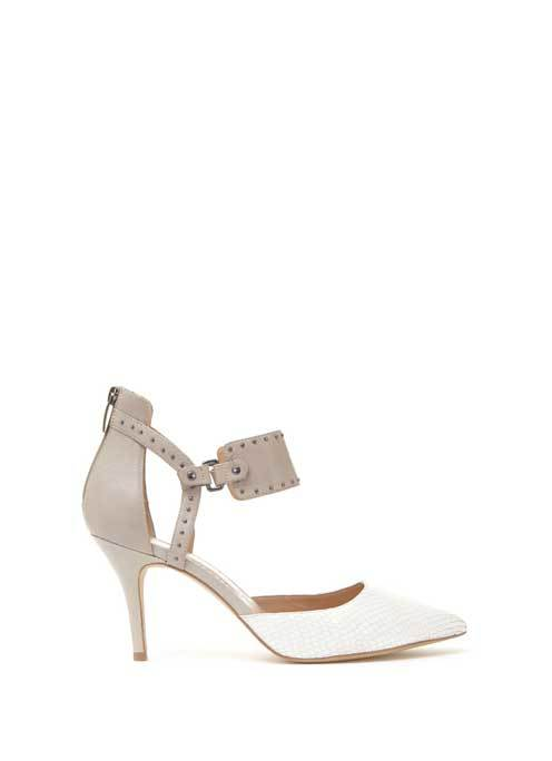 White & Stone Heidi Court - predominant colour: white; secondary colour: mid grey; material: leather; heel height: mid; embellishment: studs; heel: stiletto; toe: pointed toe; style: courts; finish: plain; pattern: colourblock; occasions: creative work; season: s/s 2016
