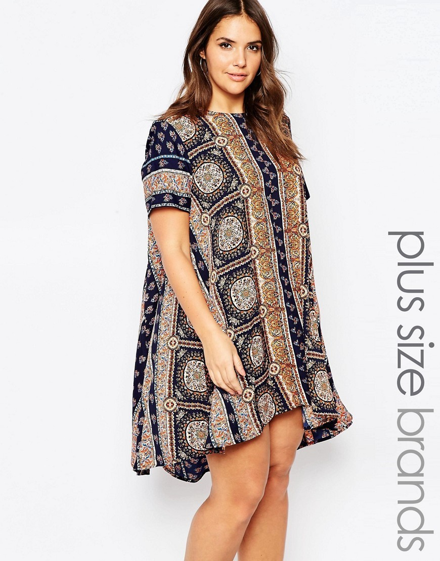 Plus Swing Dress In Scarf Print Multi - style: smock; fit: loose; predominant colour: navy; secondary colour: light grey; occasions: casual; length: just above the knee; fibres: polyester/polyamide - 100%; neckline: crew; sleeve length: short sleeve; sleeve style: standard; texture group: crepes; pattern type: fabric; pattern: patterned/print; multicoloured: multicoloured; season: s/s 2016