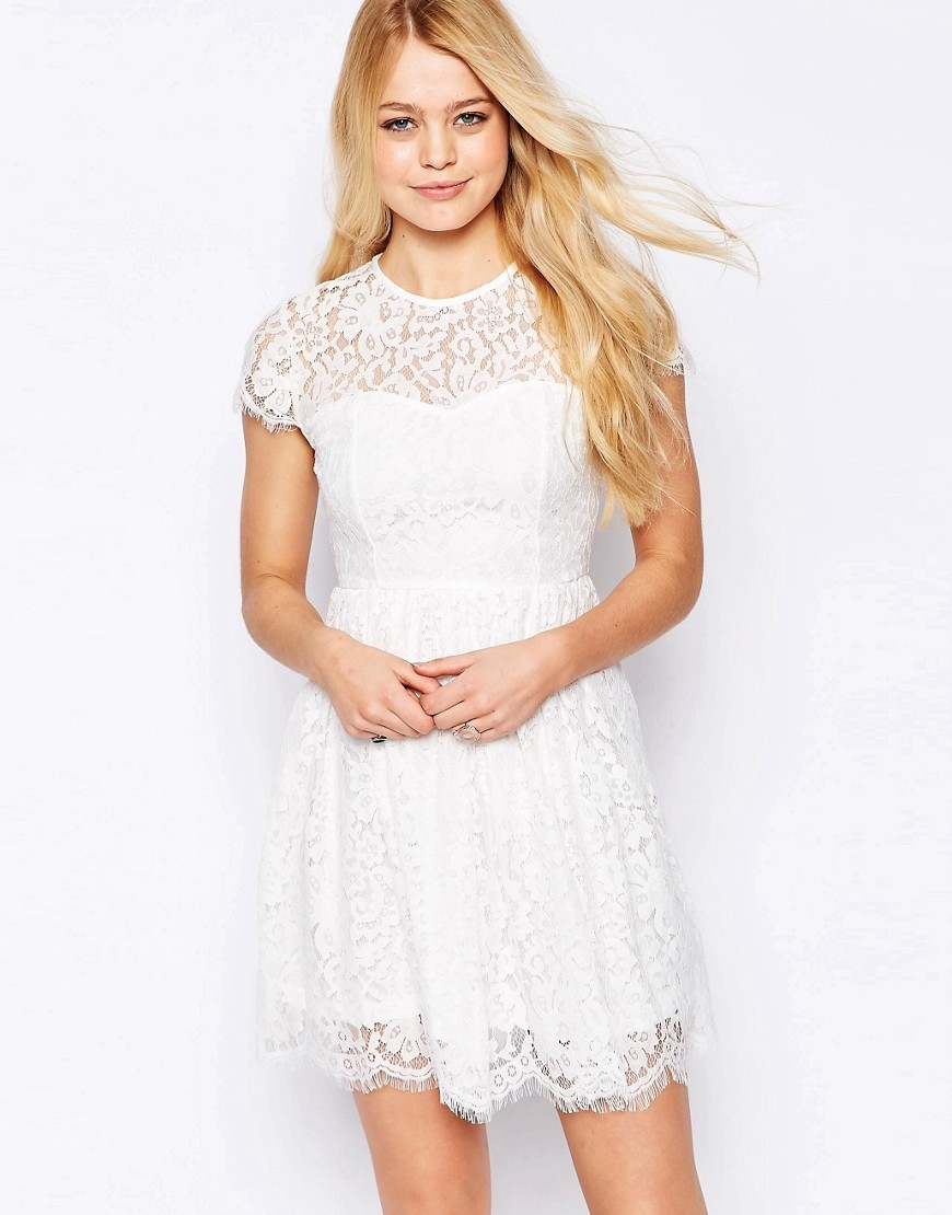 High Neck Lace Skater Dress Cream - length: mid thigh; pattern: plain; bust detail: sheer at bust; predominant colour: white; occasions: evening; fit: fitted at waist & bust; style: fit & flare; fibres: cotton - mix; neckline: crew; sleeve length: short sleeve; sleeve style: standard; texture group: lace; pattern type: fabric; pattern size: standard; season: s/s 2016; wardrobe: event