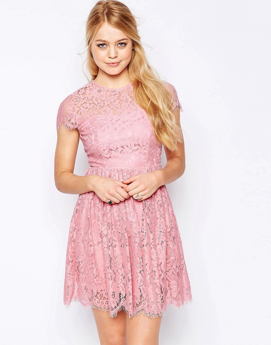 High Neck Lace Skater Dress Dusty Pink - length: mid thigh; pattern: plain; predominant colour: pink; occasions: evening; fit: fitted at waist & bust; style: fit & flare; fibres: cotton - mix; neckline: crew; sleeve length: short sleeve; sleeve style: standard; texture group: lace; pattern type: fabric; season: s/s 2016