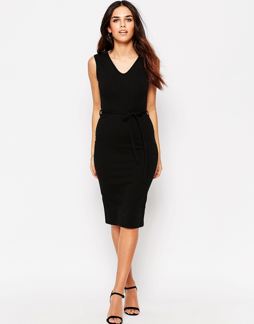 Essentials Midi Dress In Rib With Tie Waist Black - length: below the knee; neckline: v-neck; fit: tight; pattern: plain; sleeve style: sleeveless; style: bodycon; predominant colour: black; occasions: evening; fibres: polyester/polyamide - stretch; sleeve length: sleeveless; texture group: jersey - clingy; pattern type: fabric; season: s/s 2016; wardrobe: event