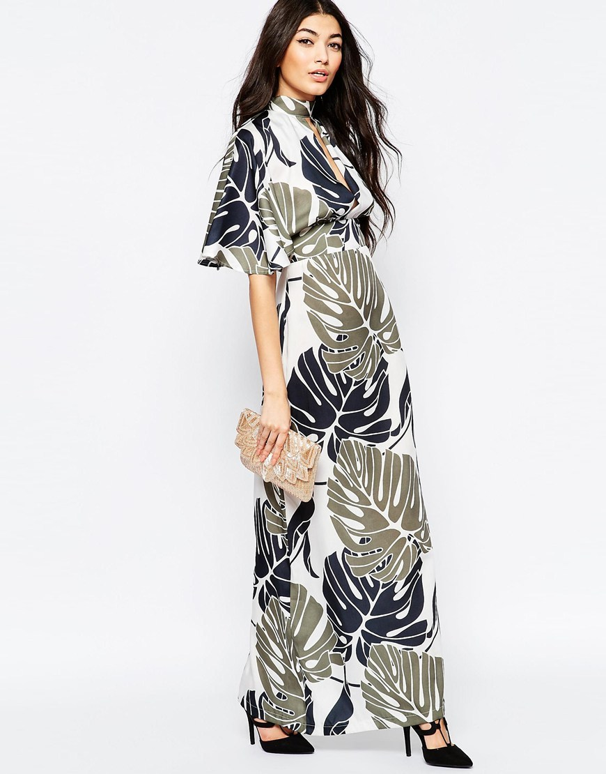 Kimono Sleeve Maxi Dress In Oversize Leaf Print White/Green - style: maxi dress; neckline: high neck; predominant colour: khaki; secondary colour: light grey; occasions: evening; length: floor length; fit: body skimming; fibres: polyester/polyamide - 100%; sleeve length: half sleeve; sleeve style: standard; pattern type: fabric; pattern: florals; texture group: jersey - stretchy/drapey; multicoloured: multicoloured; season: s/s 2016; wardrobe: event