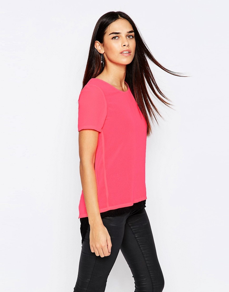 Top With Lace Hem Pink - pattern: plain; style: t-shirt; predominant colour: pink; occasions: casual; length: standard; fibres: polyester/polyamide - 100%; fit: body skimming; neckline: crew; sleeve length: short sleeve; sleeve style: standard; texture group: lace; pattern type: fabric; season: s/s 2016; wardrobe: highlight