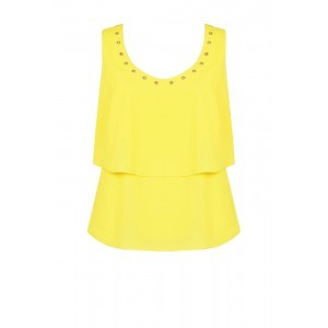 Crepe De Chine Eyelet Top - neckline: round neck; pattern: plain; sleeve style: sleeveless; bust detail: added detail/embellishment at bust; style: vest top; predominant colour: yellow; occasions: casual; length: standard; fibres: polyester/polyamide - 100%; fit: body skimming; sleeve length: sleeveless; pattern type: fabric; texture group: other - light to midweight; embellishment: studs; season: s/s 2016