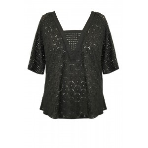 Broderie Anglaise Tunic - neckline: v-neck; pattern: plain; predominant colour: black; occasions: evening; length: standard; style: top; fibres: cotton - 100%; fit: body skimming; sleeve length: half sleeve; sleeve style: standard; pattern type: fabric; texture group: broiderie anglais; season: s/s 2016; wardrobe: event