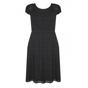 Broderie Anglaise Dress - sleeve style: capped; predominant colour: black; occasions: casual, creative work; length: on the knee; fit: fitted at waist & bust; style: fit & flare; fibres: polyester/polyamide - 100%; neckline: crew; hip detail: subtle/flattering hip detail; sleeve length: short sleeve; texture group: lace; pattern type: fabric; pattern: patterned/print; season: s/s 2016; wardrobe: highlight