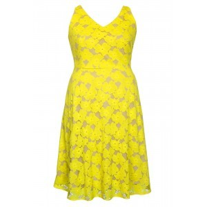 Bright Lace V Neck Swing Dress - neckline: low v-neck; sleeve style: sleeveless; predominant colour: yellow; secondary colour: nude; occasions: evening, occasion; length: just above the knee; fit: fitted at waist & bust; style: fit & flare; fibres: polyester/polyamide - 100%; sleeve length: sleeveless; texture group: lace; pattern type: fabric; pattern size: standard; pattern: patterned/print; season: s/s 2016; wardrobe: event