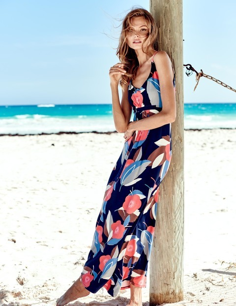 Jersey Maxi Summer Dress Navy Resort Floral Women, Navy Resort Floral - sleeve style: spaghetti straps; fit: empire; style: maxi dress; length: ankle length; predominant colour: navy; secondary colour: coral; neckline: scoop; fibres: cotton - stretch; sleeve length: sleeveless; occasions: holiday; pattern type: fabric; pattern: patterned/print; texture group: jersey - stretchy/drapey; multicoloured: multicoloured; season: s/s 2016