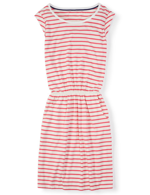 Blackberry Summer Dress Pink Women, Pink - length: mid thigh; neckline: round neck; sleeve style: capped; pattern: horizontal stripes; style: sundress; predominant colour: hot pink; secondary colour: true red; occasions: casual; fit: body skimming; fibres: cotton - mix; sleeve length: short sleeve; pattern type: fabric; texture group: jersey - stretchy/drapey; season: s/s 2016; wardrobe: highlight
