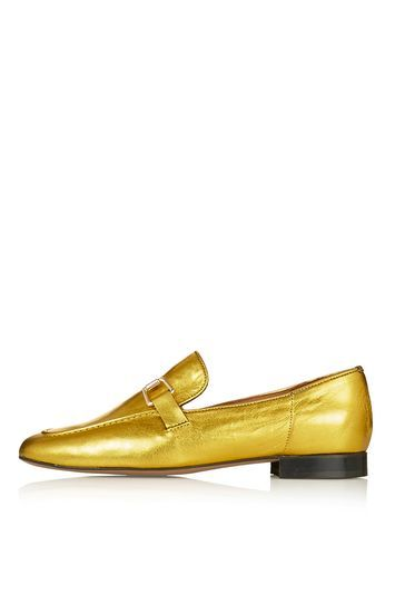 Karter Loafer - predominant colour: gold; occasions: casual, creative work; material: leather; heel height: flat; toe: round toe; style: loafers; finish: metallic; pattern: plain; season: s/s 2016; wardrobe: basic; trends: metallics