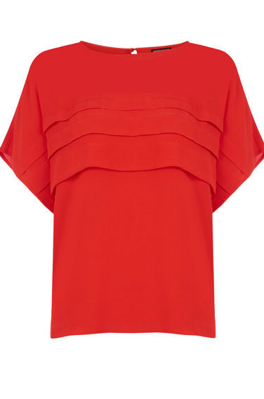Pleat Front Top - pattern: plain; style: t-shirt; predominant colour: true red; occasions: casual, creative work; length: standard; fibres: polyester/polyamide - 100%; fit: straight cut; neckline: crew; sleeve length: short sleeve; sleeve style: standard; texture group: crepes; bust detail: tiers/frills/bulky drapes/pleats; pattern type: fabric; season: s/s 2016; wardrobe: highlight
